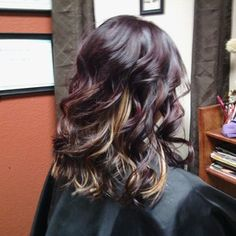 love this hair color #burgundy #blonde #peekaboos