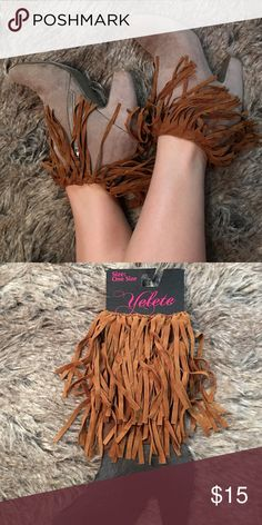 Brown fringe boot socks Brown fringe boot socks. Half sock. Brand new. Colors available: brown, gray, tan, black. Angelmueller Accessories Hosiery & Socks