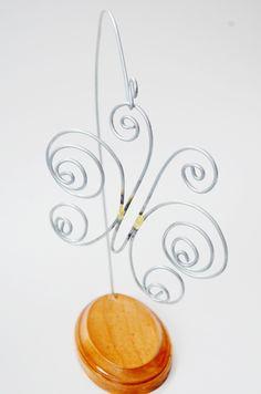 Wire Sculpture Metal Art, Scroll Work Butterfly On Stand, 3D Metal Artwork
