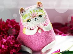 Ooak Doll Cat Art Toy Ooak Cat Miniature Art pink от LullabyForFox