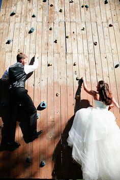 Adventurous bride and groom! Photo by Amanda Watson Photography. www.wedsociety.com