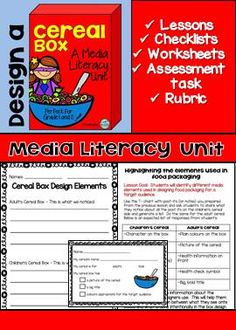 This Media Literacy Unit will have your students analyzing media elements in food packaging and determining target audiences and how they are targeted. They will take what they learn and create their own cereal boxes using the elements they learned. Literacy Assessment, Media Literacy, Literacy Skills, Literacy Activities, 4th Grade Reading, Guided Reading, First Grade Lessons, Cereal Boxes, Persuasive Text