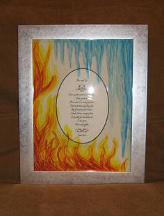 Framed Poem with Glass Painting - Fire and Ice by Robert Frost - MISCELLANEOUS TOPICS