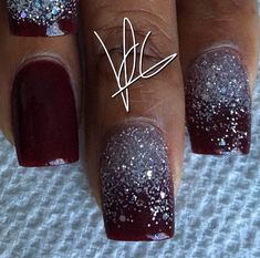 Tammy Taylor colored acrylic over natural nails..Prizma powder berry wine acrylic..silver glitter acrylic... ALL FREEHAND and no drill used