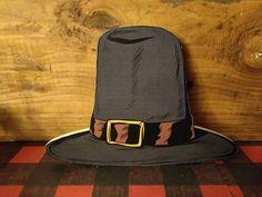 Retro Pilgrim Hat Thanksgiving Decor Wood Cutout - 4x3