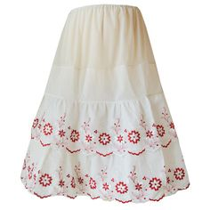 Unworn vintage 1950s red and white embroidered nylon petticoat from Candy Says Vintage Clothing www.candysays.co.uk