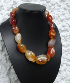 Big Carnelian nugget beads gold plated sterling by CarlaDiVolpe
