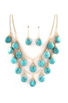Turquoise Necklace & Earrings.