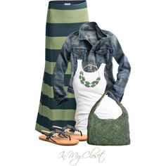jean jacket/maxi skirt combo.