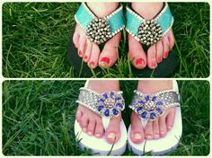 Choices, choices - Which sparkling combo would you choose? #BRDs #flipflops #sandals #custom #fashion #style #footwear