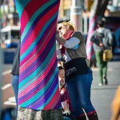 Yarnbombing by Yarn Corner Yarn Bombing, Knitting Yarn, Creative Art, Graffiti, Corner, Instagram Posts, Sydney, Pink, Inspiration