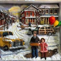 Rölyef,Relief,Ahşap Rölyef,Kış Manzarası,Kar,Balon,Handmade,El Yapımı,El İşi,3d