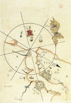 Better Directions at Sea: The Piri Reis Innovation - Muslim Heritage Vintage Maps, Antique Maps, Piri Reis Map, Journey To The Past, Map Quilt, Paris Map, Old Maps, City Maps, Ancient Civilizations