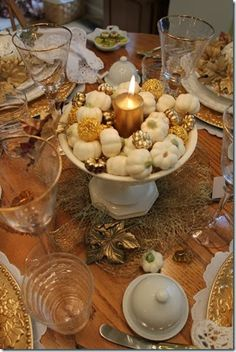 A fall baby shower is a perfect time to use those adorable little white pumpkins!