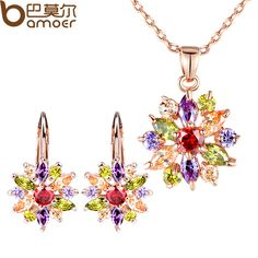 Luxury Gold Color Flower with Colorful AAA Cubic Zircon Jewelry Sets For Women //Price: $22.99 & FREE Shipping //     #jewelry #istylemyway