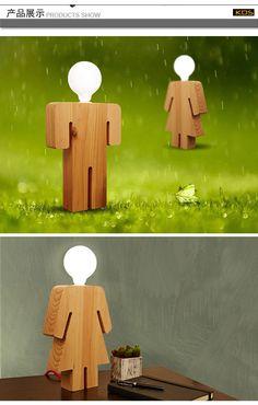 Nuevo 2014 Modern breve madera lámpara de mesa ofhead moda las lámparas nueva llegada de madera maciza en Lámparas LED de Escritorio de Iluminación en AliExpress.com | Alibaba Group