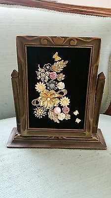 Vintage Framed Jewelry Art Antq Wood Frame w/Stand