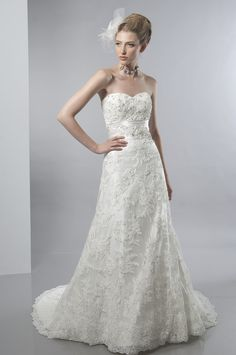 A-Line Sweetheart Neckline Strapless with Empire Waist and Lace Appliques Zipper Semi-Cathedral Train Organza Wedding Dress