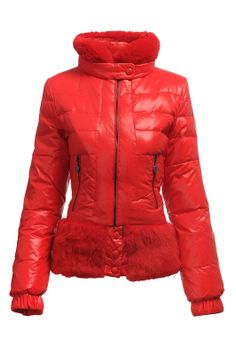 Fashion Moncler Womens Down Jacket Fur Collar Red [2900422] - £167.20 : 5% off discount code: happywinter