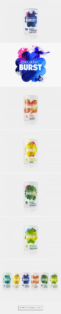 Packaging and branding for Organic Burst via B&B studio curated by Packaging Diva PD. Packaging that makes you want to eat more healthfully.