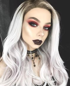 Soo I tried to do a halloween look, I was going for something vampy, kinda easy but still glam (please imagine the vampire teeth there) i… Halloween Looks, Halloween Face Makeup, Nordic Blonde, Ice Blonde Hair, Punk Makeup, Coloured Hair, Festival Makeup, Crazy Colour, Emo Girls