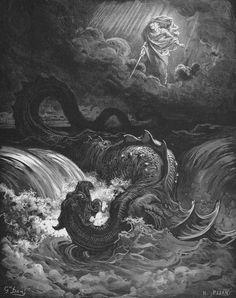 Marduk slaying Tiamat. Er... Jehova versus Leviathan.