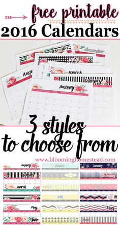Free printable 2016 calendars in 3 styles to choose! Get organized with these lovely free printables. To Do Planner, Planner Pages, Life Planner, Happy Planner, College Planner, College Tips, Weekly Planner, 2016 Planner, Free Printable Calendar