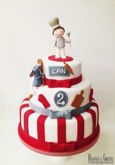 The parfect Little Chef Cake by camille Ratatouille, Fondant Cakes, Cupcake Cakes, Chef Cake, Friends Cake, Gourmet Cakes, Bolo Cake, Little Chef, Baking Party
