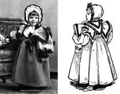 "On the right is a coat featured in Harper's Bazar in 1896 described as ""a matching coat and hat is worn by a young girl from three to four years of age. Two wide box pleats extend from the neckline and are decorated with ornamental silk trimmings. Both the coat and matching hat are edged with fur."""