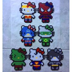 Superhero Hello Kitty perler beads by theburgerface