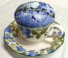 I ❤ embroidery & crazy quilting . . . Teacup & Saucer Pin Cushion ~By Susie W.