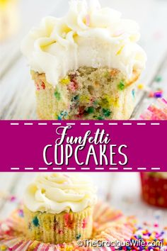 Bright rainbow sprinkles and a soft, buttery cupcake make these the BEST homemade Funfetti Cupcakes. Fluffy homemade vanilla rainbow speckled cupcakes that are worlds better than anything you will find in a box! Funfetti Cupcake Recipe, Baking Cupcakes, Cupcake Recipes, Baking Recipes, Cupcake Cakes, Dessert Recipes, Southern Recipes, Southern Food, Poke Cakes