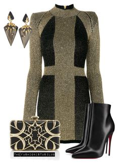 """The Fashionistas CLUB"" by kemiakinajayi on Polyvore featuring Balmain, Christian Louboutin, Elie Saab and Alexis Bittar"
