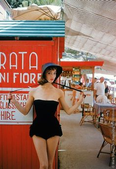 The Nifty Fifties  Elsa Martinelli models in Portofino, Italy, 1950s. Photo by Mark Shaw.