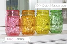 DIY Color Mason Jars! Do I really need to say anything more? Seriously, these jars are absolutely gorgeous and you won't believe how easy this technique is to do at home.