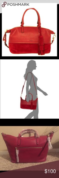 """NWT Splendid Ashton Satchel (Faux-leather & Suede) Splendid's chic faux-leather-and-suede Ashton satchel handles it all in spacious, versatile style.        16-1/4""""W 9-1/4""""H x 6""""D      Interior features 1 zip pocket and 2 slip pockets      5-1/2""""L double handles; 24""""L adjustable and removable strap      Top zip closure      Exterior features gold-tone hardware, 1 back zip pocket and removable tassel      Bag converts from crossbody to tote by removing strap      Silhouette is based off 5'9""""…"""
