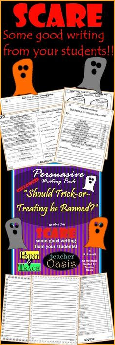 """A Halloween Writing Prompt to SCARE your students into writing well!  """"Should Trick-or-Treating be Banned?"""" Includes Halloween writing paper for cute displays. Everything you need to teach and assess persuasive essay writing! While teaching the basics of persuasive writing, these materials will engage your students and motivate them to write. They will also reinforce the importance of using the 6+1 Writing Traits. This holiday writing pack has all you need to Print & Teach.  From Teacher…"""