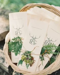 Sprigs of cedar and wildflowers picked from the grounds of Skye were tied to the programs. See more pictures from this Scottish-inspired wedding online!