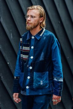 Indigo patchwork jacket, a wardrobe essential for the denim heads often seen in Blue Blue Japan's menswear collections.