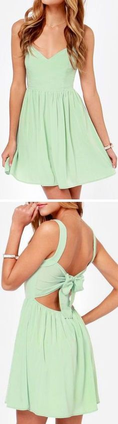 Mint Bow Back Dress ღ