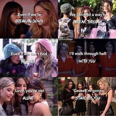 Love this ❤️Amazing how songs can relate so much to great TV shows Pretty Little Liars Netflix, Preety Little Liars, Pretty Little Liars Quotes, Pretty Little Liars Seasons, Pll Quotes, Pll Memes, Tv Show Quotes, Pll Logic, Great Tv Shows