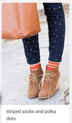 Wedge with Strip Socks
