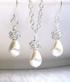 Ivory Bridesmaid Gift Set Necklace Earrings Ivory by LaurinWedding, $17.00