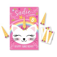 Pin the Horn on the Caticorn  - DIY party game - party game for girls - cat game - cat party game / digital files