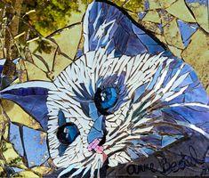 chaton en mosaique  - kitten mosaic by Anne BEDEL http://www.admiroutes.asso.fr/art/bedel/