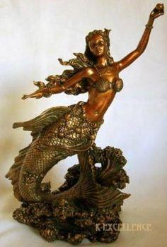 Amazon.com: MERMAID HOLDING PEARL STATUE Fantasy Sculpture Figurine Figure Antique Bronze Finish: Home & Kitchen