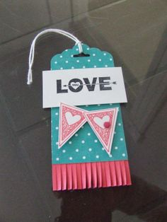 *Stampin' Up, by Amy Frillici, Gathering Inkspiration, order products online at amysuzanne.stampinup.net, Valentine Treat, Bookmark, Scalloped Tag Topper Punch, Fringe Scissors, Love You to the Moon Set, Language of Love Set, Brights Candy Dots, White Baker's Twine, Petite Pennants Builder Punch