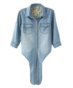 Self-tie Denim Blouse with Floral Print Lining