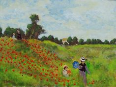 Les Coquelicots à Argenteuil, after Claude Monet. Atelier Interactive Acrylics on canvas panel.