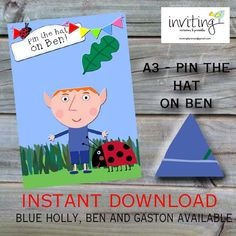 Pin the Hat on Ben Ben and Holly Party Game por Invitingbyrenee